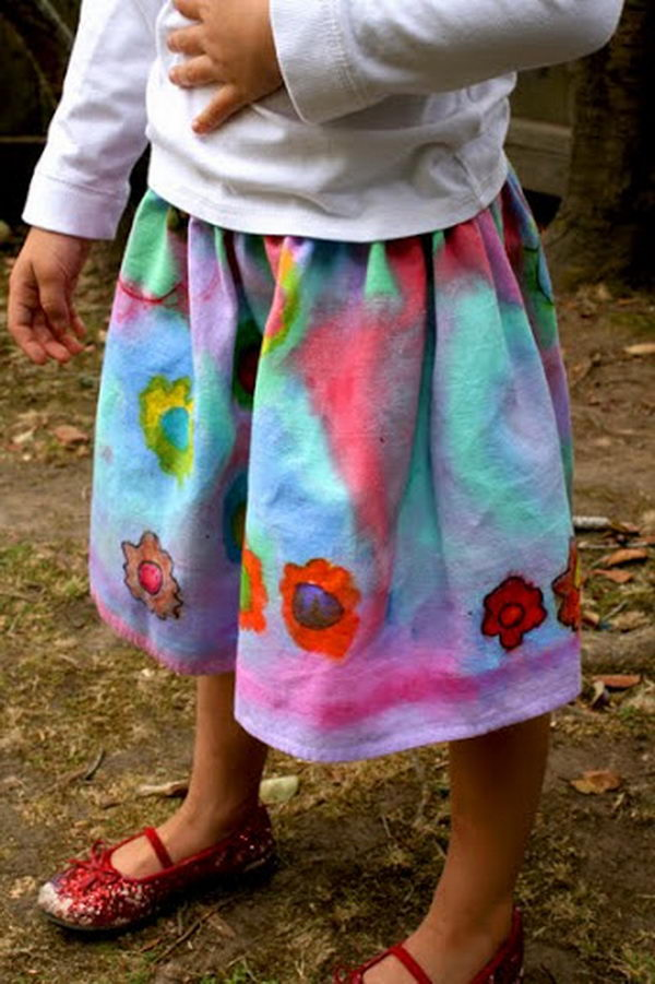 DIY Painted Skirt. Do something new today that will be fashionable all summer.