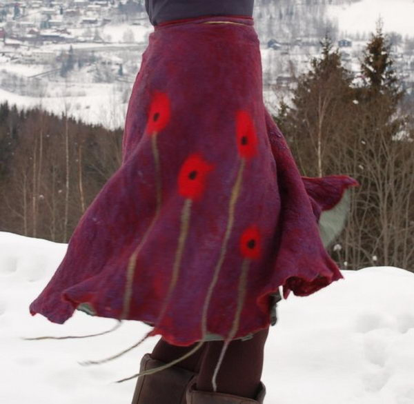 Handmade Artisan Indie Felted Skirt. Do something new today that will be fashionable all summer.