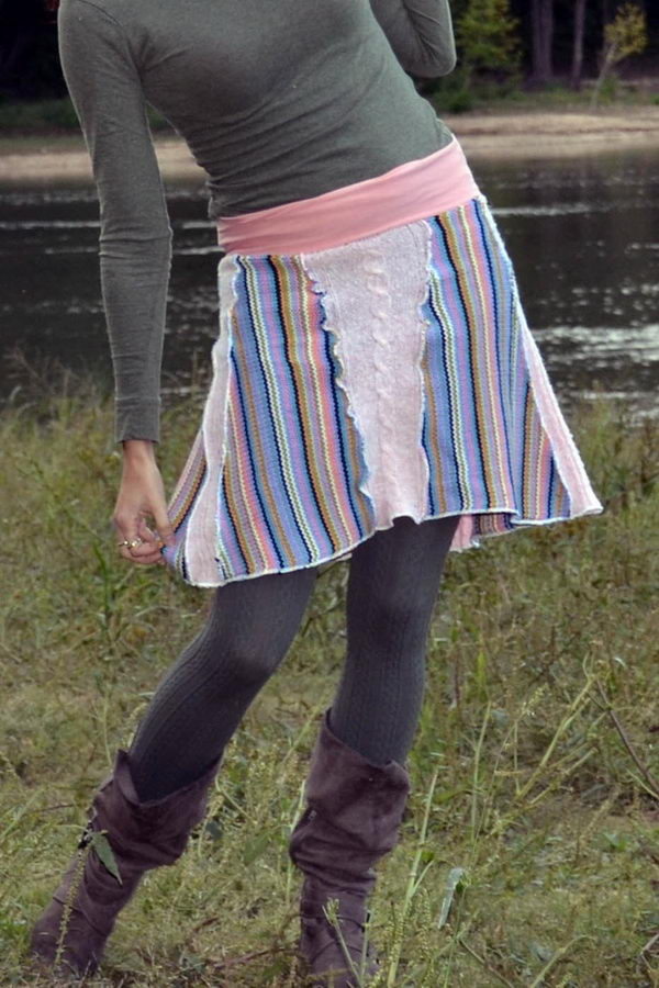 Handmade Upcycled Sweater Skirt. Do something new today that will be fashionable all summer.