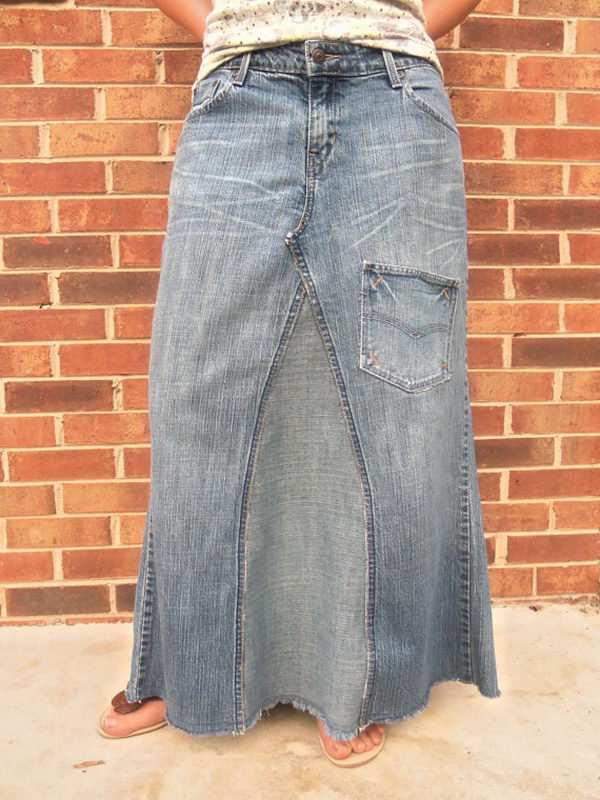 Upcycled Jeans Skirt. Do something new today that will be fashionable all summer.