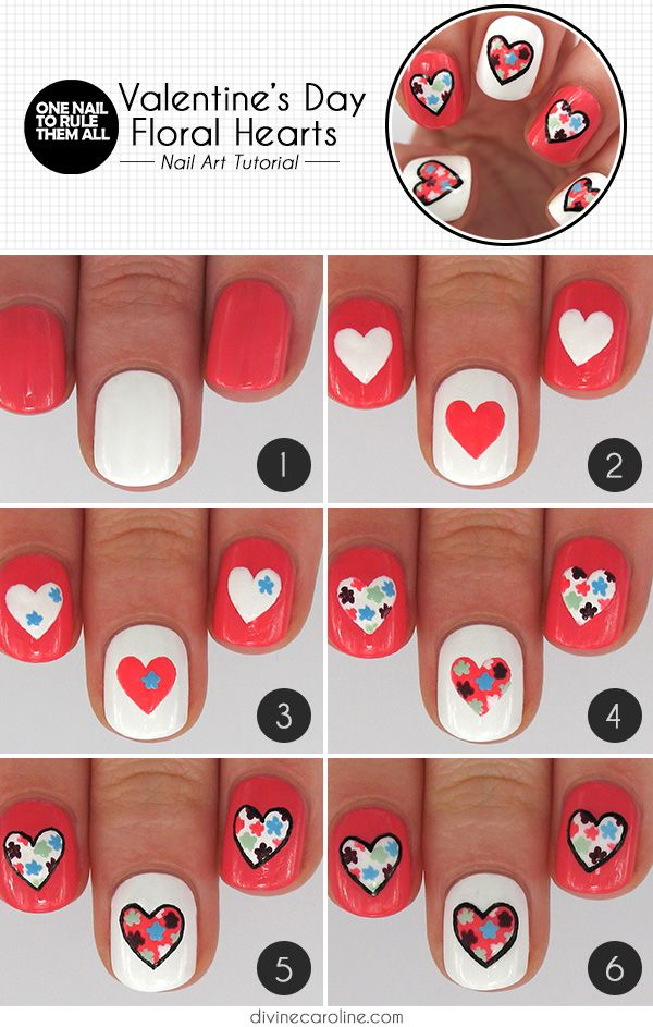 Valentines heart nail art with heart and floral designs,