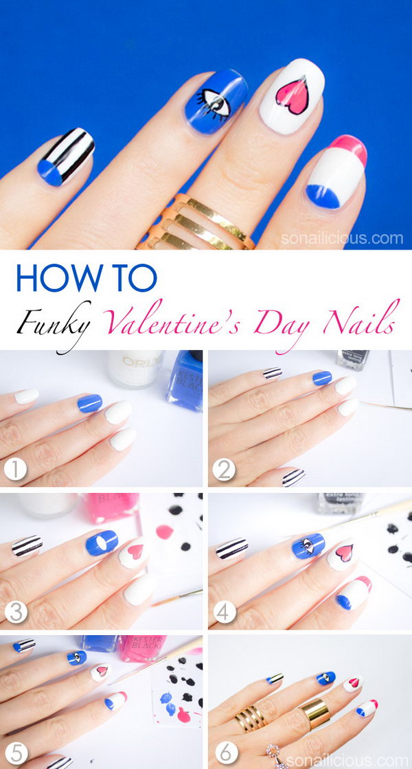 Funky Love Valentine's Day Nail Art. The presence of an eye and a heart in this design has a meaning – we fall in love with our eyes and then our hearts.
