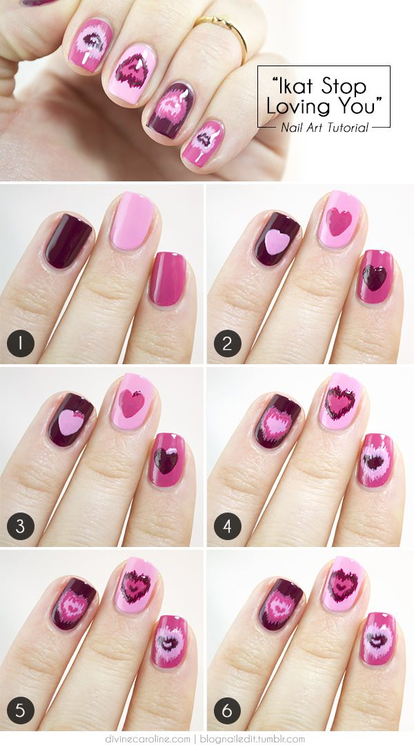 Valentines heart nail design which mixes the iconic heart symbol with an eye catching ikat pattern.