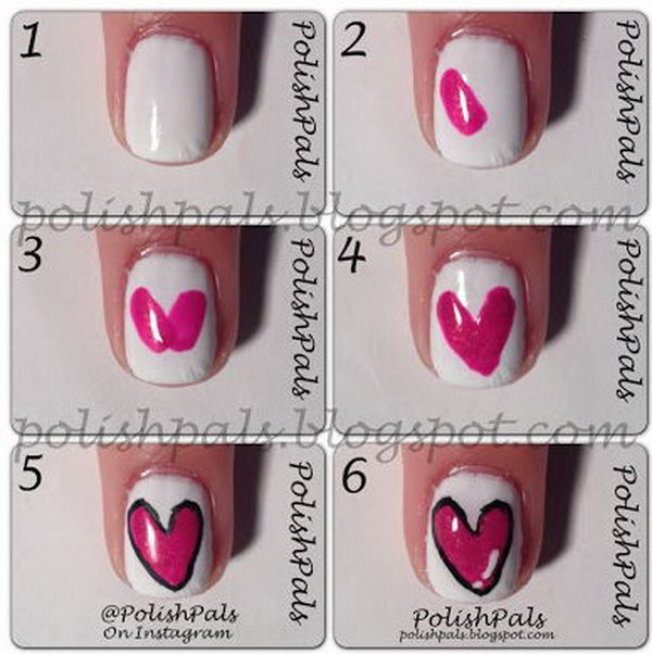 Valentine's Day Simple Heart Nail,