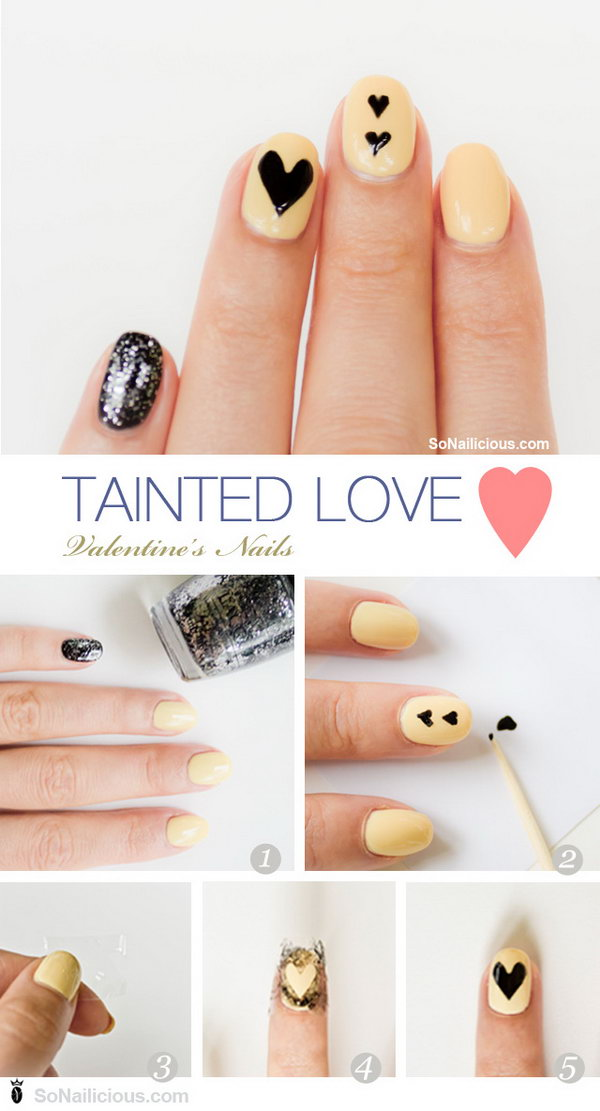 Tainted Love Valentines Day nails were created purely out of desire to try something unusual, not your typical red or pink girly nails.