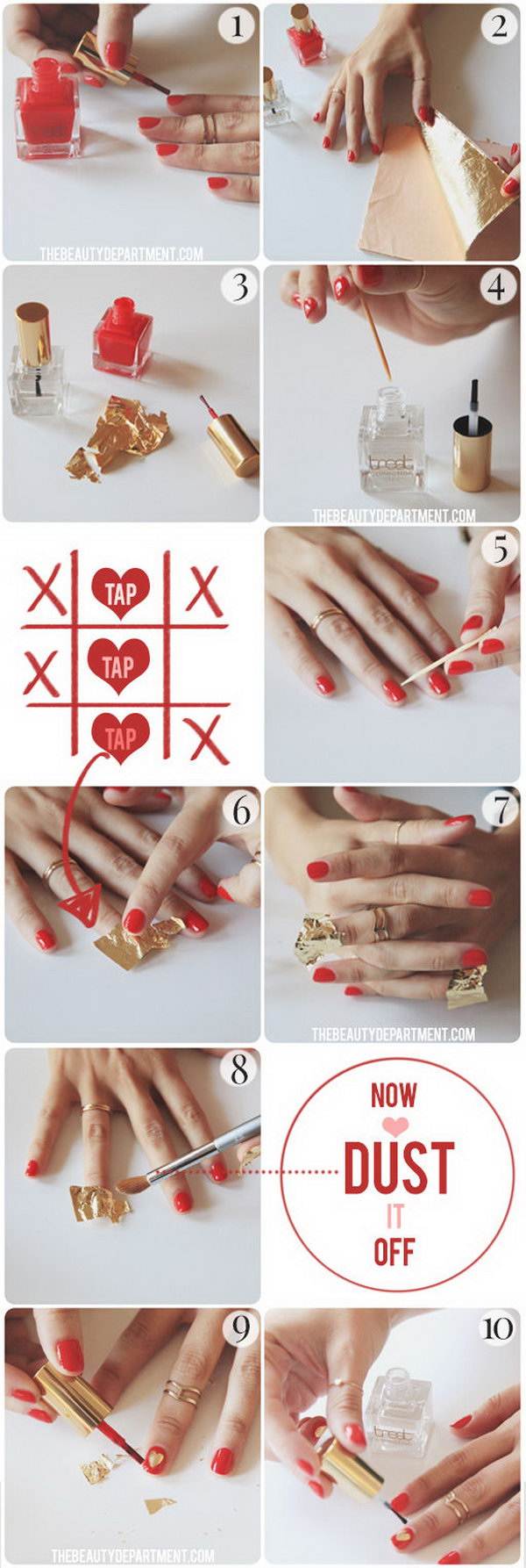 Gold Heart Nails,