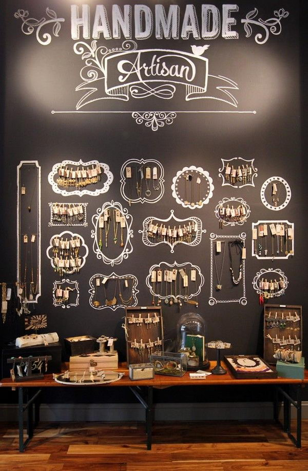 Chalkboard Jewelry Display.