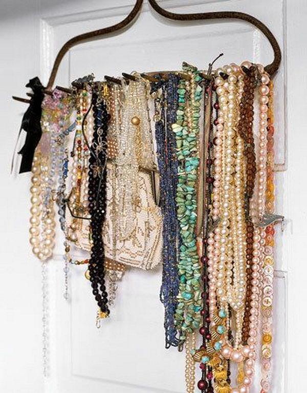 Rake Jewelry Display on Door.