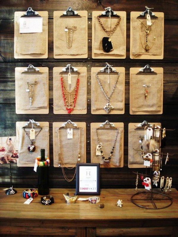 Jewelry Displays With Clipboards.