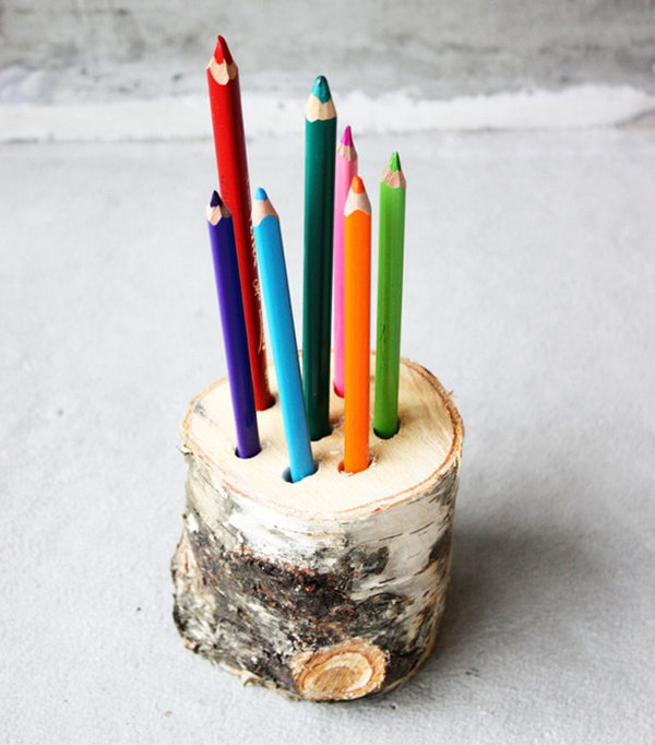 Keep your pencils in reach with a DIY wood pencil holder.