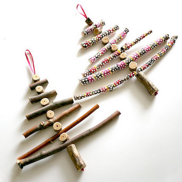 DIY Twig Christmas Tree Ornaments,