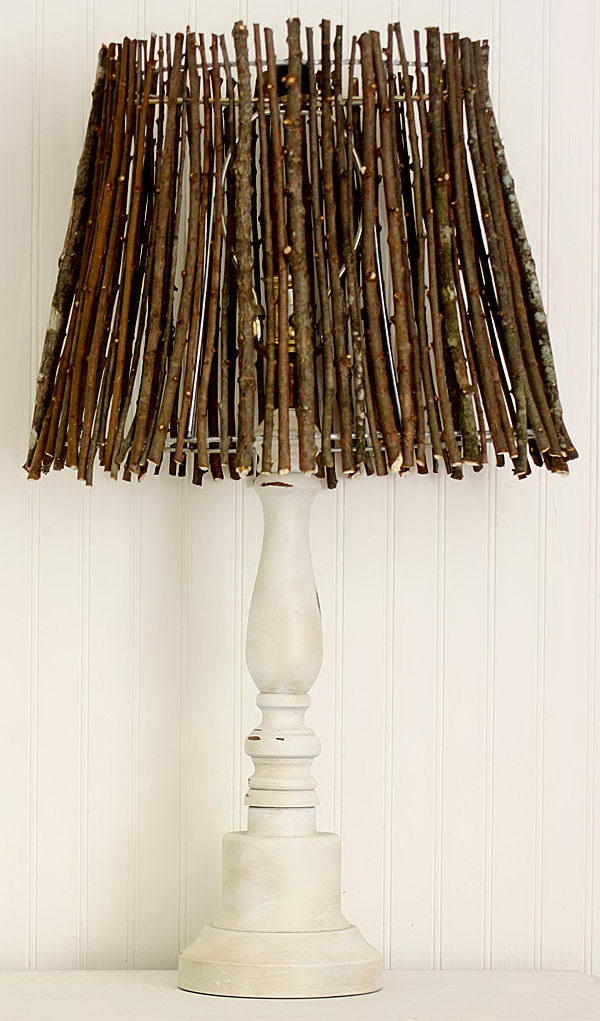 Add a little natural element to fall decorating with this twig lamp shade.