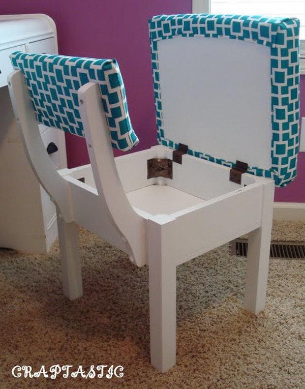 Chair with hidden storage,