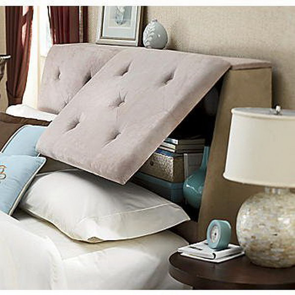 Unique hidden storage headboard,