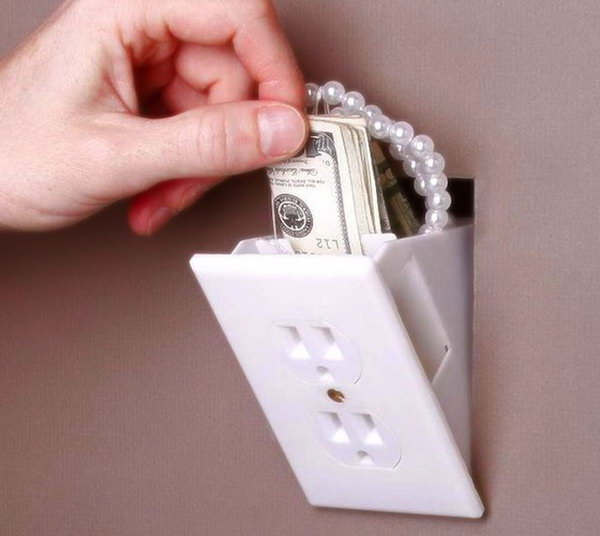 Hidden Outlet Wall Safe. It looks like an electrical outlet but it is a great place to hide your valuables.