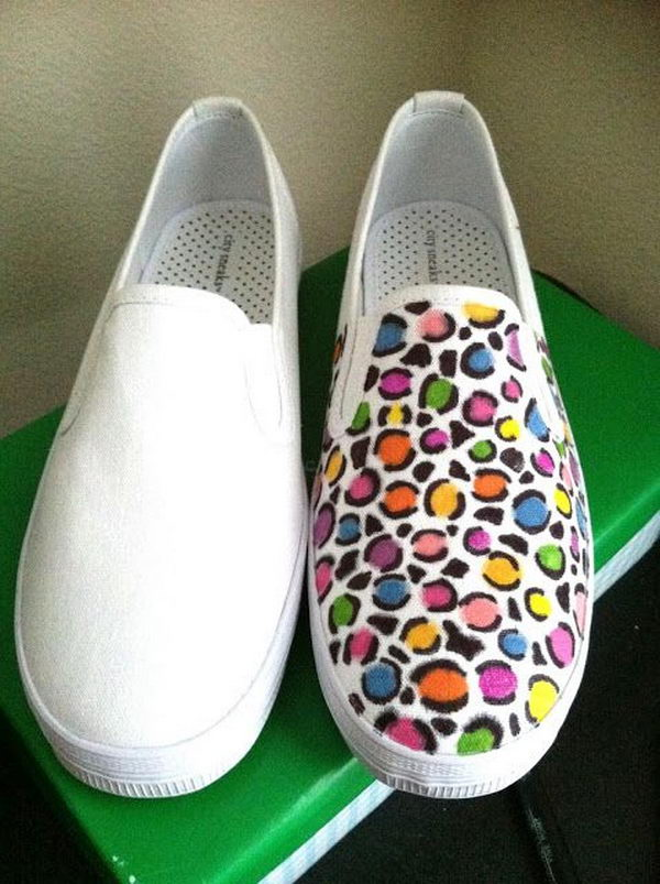 DIY Colorful Leopard Print Shoes.