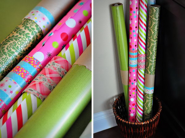 Use a toilet paper roll to wrap around open rolls of wrapping paper and keep them from unrolling everywhere. You can also put some washi tape over the roll to cover up the ugly cardboard.