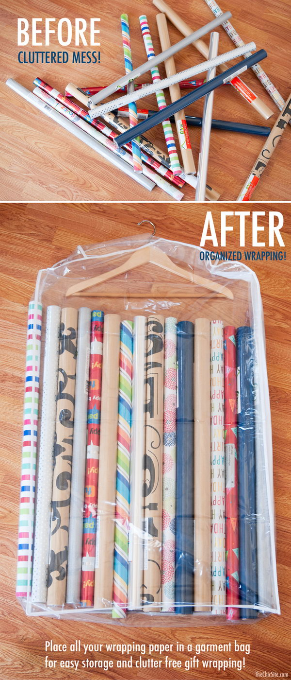A garment bag will keep your wrapping paper organized. Put them either under the bed or in a closet, and keep the paper rolls from unwinding and tearing.