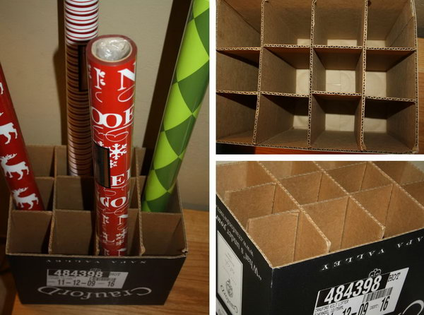Use a wine box to store wrapping paper rolls and keep them neatly separated. It fits perfectly in any closet or any small space.