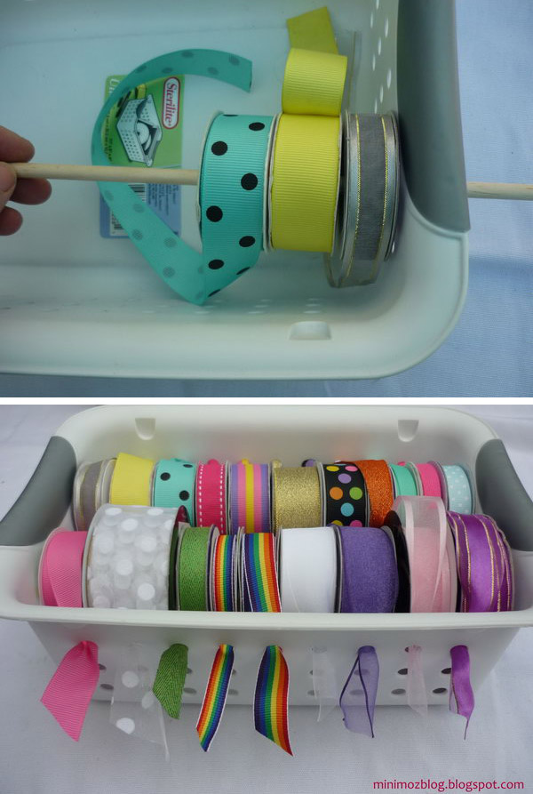 Stick dowel rods through a plastic basket for a handy and functional solution to store wrapping ribbon.