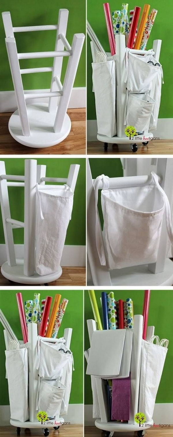 What a great idea to turn an old stool upside down as a wrapping paper organizer. Screw rolling coasters into the top of stool. Tie canvas bags onto the outside legs and fill the inside.
