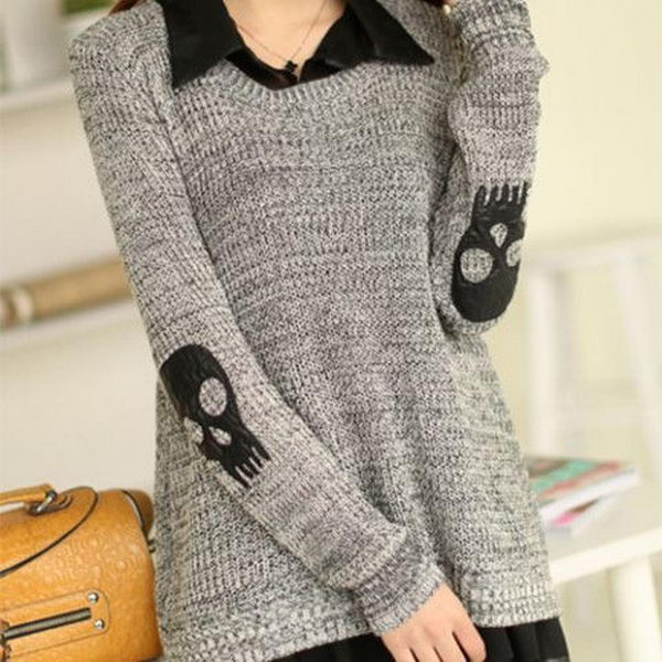 Skull Patch Chiffon Spliced Sweater. Create a style of intelligence, distinction and romantic fashion. Give your old sweater or jacket a new life.