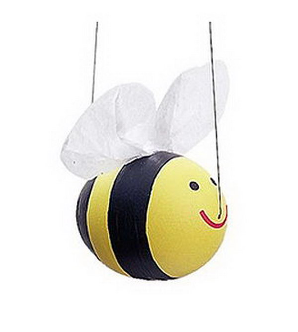 Just three simple steps to DIY your happy bumble bee. Paint this cute fellow yellow with black stripes and attach fishing line and tissue paper wings, it's so funny to watch this little guy soar!