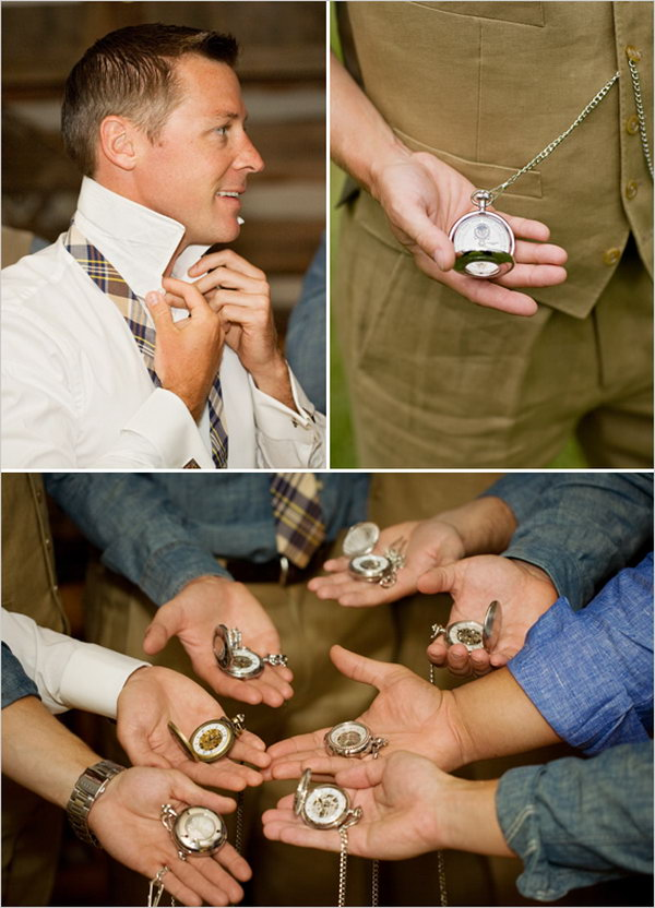 Engraved Pocket Watches. Engrave their names on the front of the pocket watches. They are super great keepsakes for men.