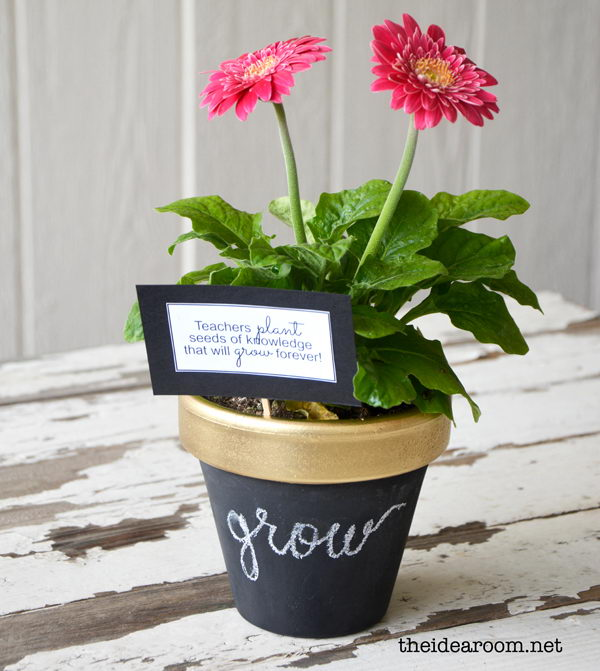 DIY Chalkboard Flower Pot. This gift is an excellent choice to thank the teachers who are flower lovers. It will be more thoughtful presents if you select their favorite flowers respectively for them.