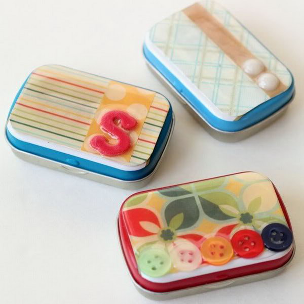 DIY Tiny Tin Storage. If you have many tiny mint tins at hand and love recycled crafting, it is an amazing idea to use these tins to make cute storage boxes as the teacher appreciation gift.