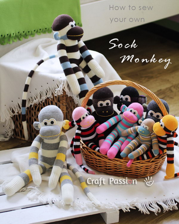 Sock Monkey. These homemade sock monkeys are adorable enough to make an excellent birthday present for children. Sewing a sock money needs lots of patience and skills.