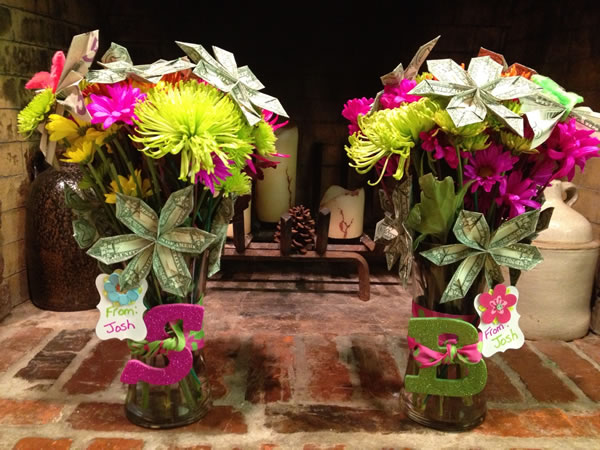 Money Origami Flower Bouquet. Making a money flower bouquet is a fantastic birthday gift idea when you run out of time.