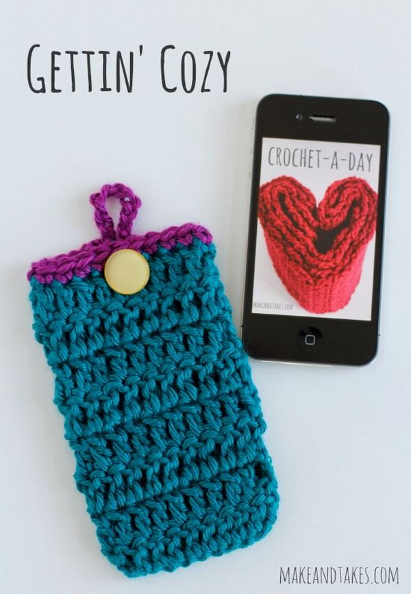 Crochet Phone Cozy. Create a crochet phone cozy for friends who are very afraid of the cold winters. This crochet phone cozy is a sweet and warm gift for them.