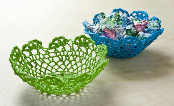 Doily Bowls. Use some doilies to make these beautiful bowls. It is a great gift idea to give your friends such gorgeous and useful doily bowls on special days.