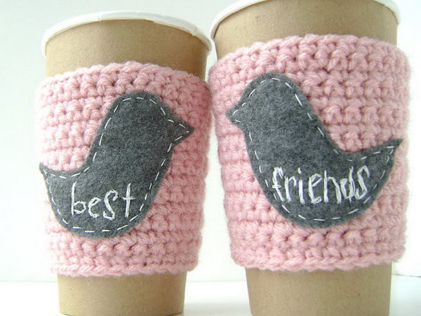 Coffee Cozy. This DIY crochet coffee cozy makes the best present in the winter for people who are a big fun of coffee. And it's pretty cool to share a pair of best friend coffee cozies with your best friend.