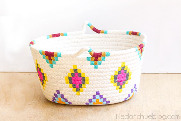 Painted Basket. Create a special and unique painted basket for you mom. It is super easy to make such a present.