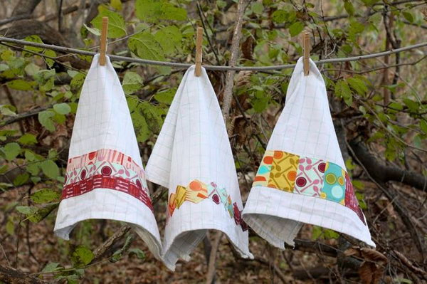 Embellished Dishtowels. It is a very practical gift idea for moms. These embellished dishtowels can make your mom's kitchen more beautiful and distinctive.