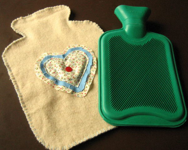 Hot Water Bottle Cover. This cover is a very economic and practical present for your mom. You just need some scraps of fabric and an old blanket or scarf to make such a great gift.