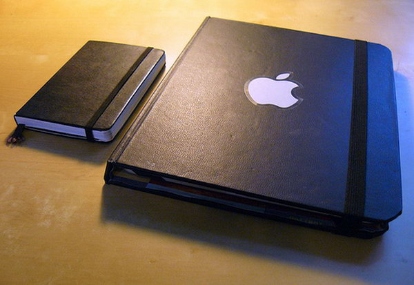 Moleskine iPad Case.This moleskine iPad case is as elegant as the Apple products themselves. You can make one under 20 dollars. Here's a step by step tutorial for you.
