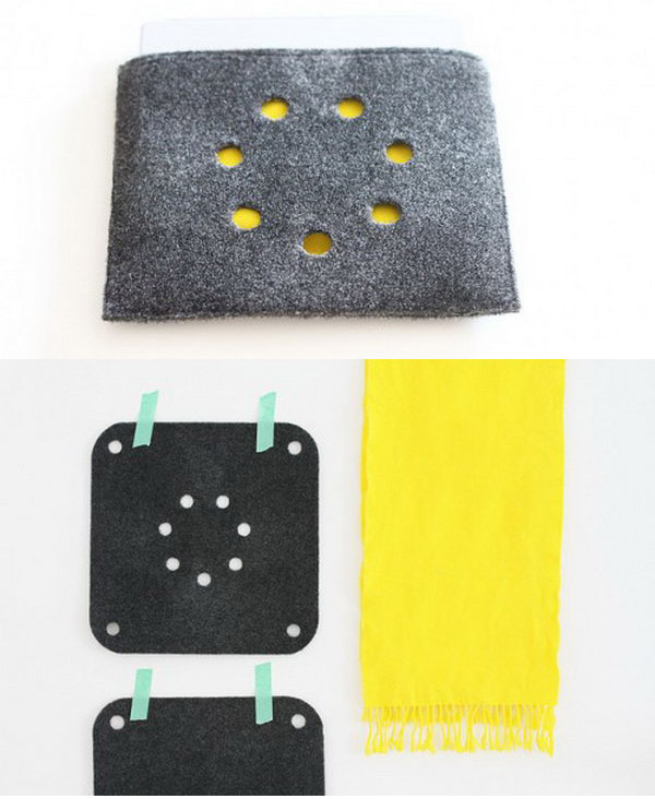 DIY iPad case from IKEA chair pads. This is a super easy and cheap way to get a stylish iPad case. All you need is two Nedda chair pads from Ikea and an old scarf.