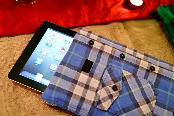 Plaid shirt iPad case. This unique iPad case is made from a plain shirt. It's so easy and quick to create one without a sew machine. All you need is a plaid shirt, a padded envelope, hot glue gun, fabric glue sticks, scissors, velcro. Here's a video for you.