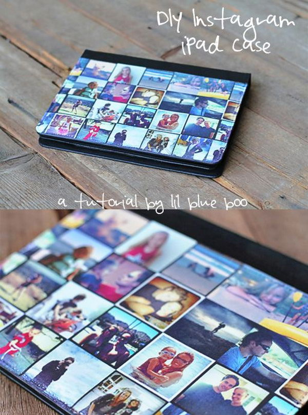 DIY instagram iPad case. This special iPad case is customized with your favorite instagram photos. It's a perfect gift for your family members.