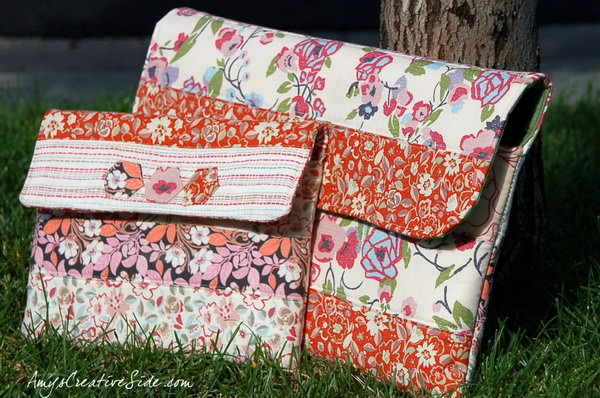 Sewing pattern iPad case. With little imagination, you can turn the old fabric into a beautiful iPad case like this. Here's the tutorial for you.