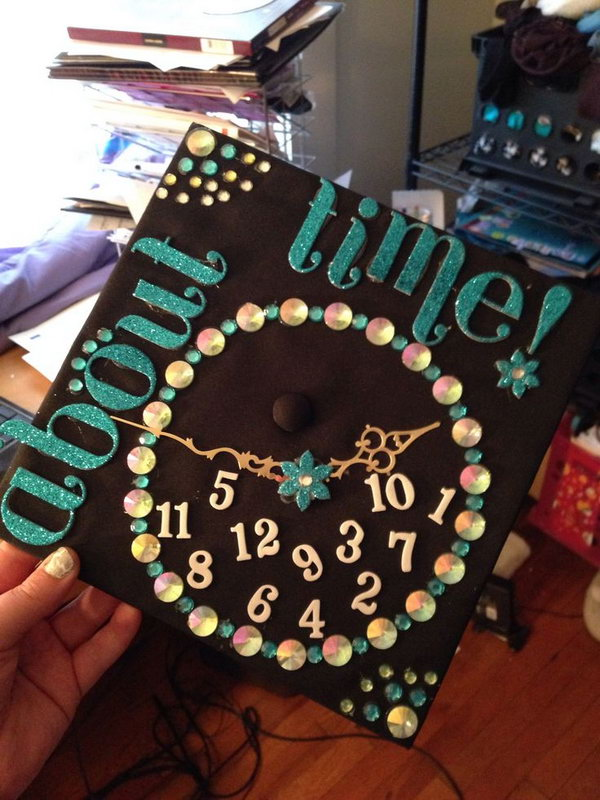 Clock Themed Graduation Cap. Design your graduation cap in this stunning clock style with a circle of beadings and sequins. Add foam board characters and numbers for garnishment.