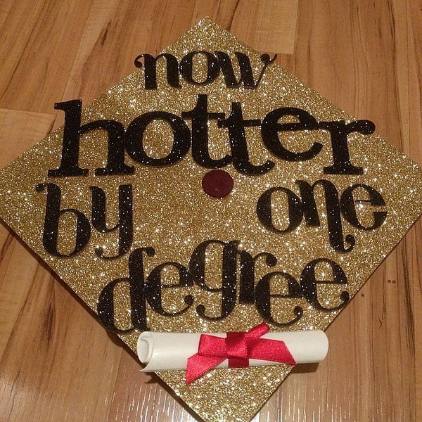 Glittering Graduation Cap. Create this stunning graduation cap with gold glittering cap board and black glittering letters. Decorate it with red satin bow tied diploma.