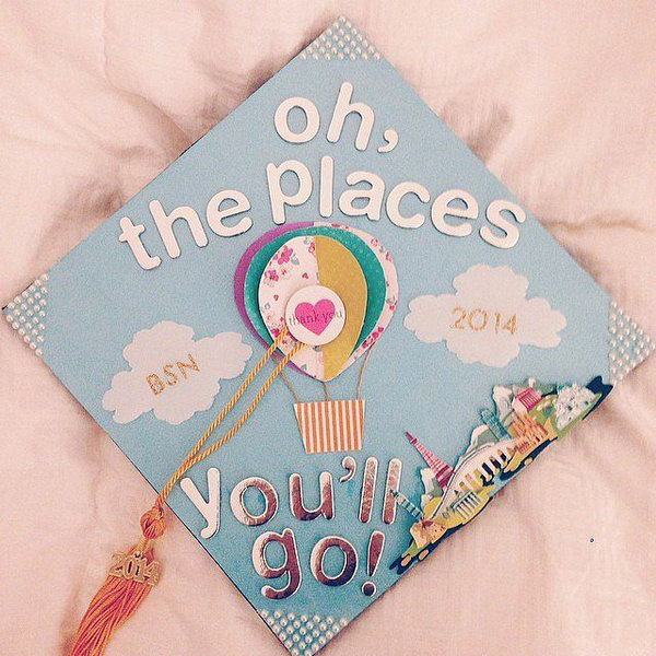 Hot Air Balloon Graduation Cap. Glue layers of colorful patterned heart shaped cardstocks to create the sweet hot air balloon image. Add up some shining characters and beadings to finish off its beauty in a travelling style.