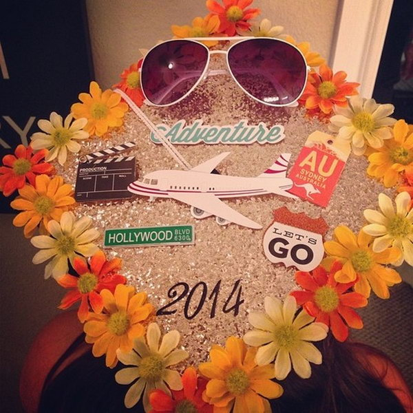 Fun in the Sun Graduation Cap. You'll feel like as if you were on vacation with this graduation cap adorned with sunflowers at the rim of it. Add up more travelling elements such as airplanes, sunglasses to your imagination to enhance the funny sense.