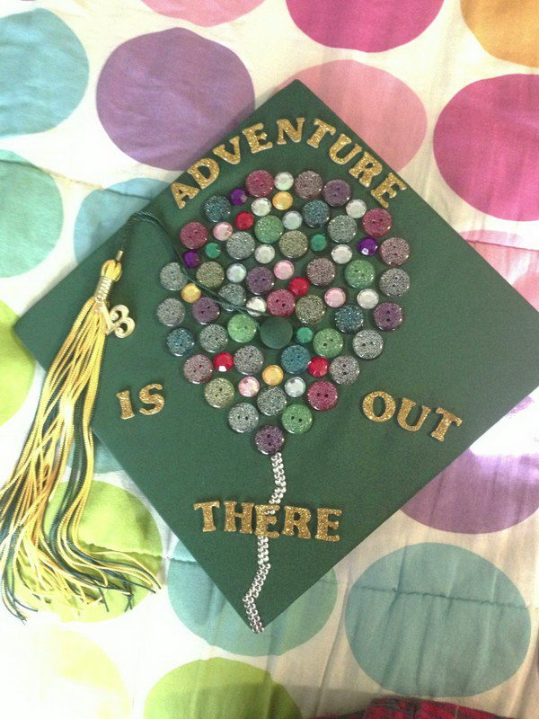 Button Decorated Graduation Cap. Decorate the graduation cap with glittering gold alphabets as well as glittering buttons in various colors. It's super easy to make yet chic in design to make it attractive.