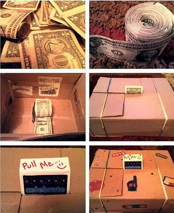 Rolled Bill Graduation Gift. Tape and roll a stack of bills as you like. The more , the better. Put it them together in a cardboard box cash dispenser. Wrap up the box in a beautiful decor style. The graduate must be exciting to receive such a gift.