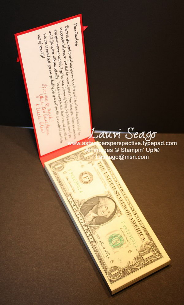 Money Pad for Graduate. Stack the money to square on all edges and align with the chipboard. The graduate just can't wait to receive bills in this stunning money pad. It stands for wealth as well as honor for the great graduation celebration.